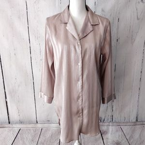 Halston Vintage Designer Tan Striped Button Blouse